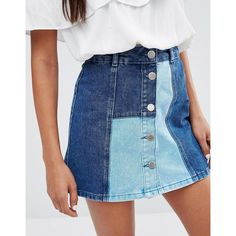 River Island A Line Denim Patchwork Skirt ❤ liked on Polyvore featuring skirts, patchwork denim skirt, blue a line skirt, knee length a line skirt, denim skirt and a line denim skirt