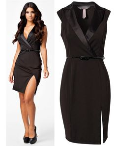 M L Plus Size Freeshipping 2013 New Fashion Women Black Notched Neckline OL Work Bodycon Dress Casual Dress with Belt 9030 - Amazing Shoes UK Simple Dresses, Day Dresses, Casual Dresses, Office Dresses For Women, Dresses For Work, Belted Dress, Bodycon Dress, Moda Formal, Interview Attire