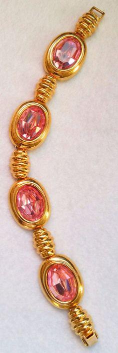Kenneth Jay Lane KJL Gold Tone Rose Crystal Link Bracelet