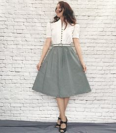 Vintage 80s Does 40s Chevron Striped Dress Gray White Belted Puff Sleeve S M by PopFizzVintage on Etsy