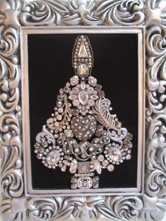 Jeweled Christmas Tree Framed Silver Vintage by audreymivey, $60.00