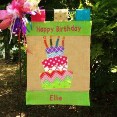 Birthday Garden Flag* Happy Birthday Flag* Customized Birthday Flag*Birthday Party Decor*Birthday Cake Garden Flag* Burlap Garden Flags by TallahatchieDesigns on Etsy #birthday#birthdaygardenflags#customflags#happybirthday#burlapflags
