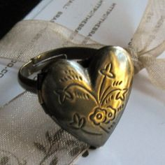 Heart Poison Ring  with Brass Locket  Shabby Chic by #TheBrassHussy, $16.00 #jetteam #jewelryonetsy