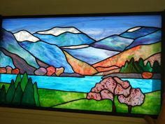 Take a look at some of the beautiful landscape-themed stained glass designed by Rhonda's Stained Glass. Call to order custom glass for your home. Stained Glass Flowers, Stained Glass Mosaic, Glass Art Pictures, Glass Painting, Painting, Art, Glass Art