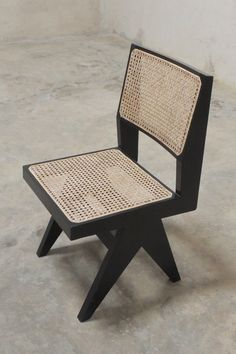 Armless Dining Chair Black Finish Pierre Jeanneret style