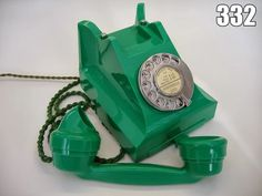 Jade Green 332 telephone, made and used in the UK in the 1950's. Green is one of the Very rare colors for this telephone. In the 1950's Black Bakelite was the norm (99.9%) , then in order of rarity Ivory, Red and then Green.