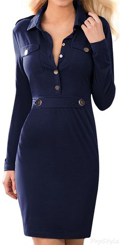 MIUSOL Vintage Navy Style Long Sleeve Pencil Dress