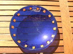 Blå glasskål med smykkeglas
