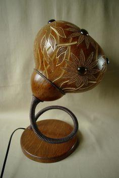 Handmade stirring calabash lamp with flower by CalabashLights, €260.00