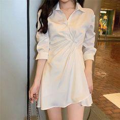 ever after Twist-Front Chiffon Polo Dress Teen Fashion Outfits, Classy Outfits, Cute Fashion, 90s Fashion, Fashion Dresses, Casual Outfits, Fashion Online, Fashion Tips, Korean Girl Fashion