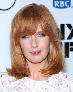 19 Amazing Hairstyles for Long Faces: Shoulder-Length, With Blunt Bangs: Fabulous for a Long Face