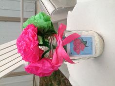 Mason Jar centerpiece for Mexican party. Paper flowers with Loteria cards.