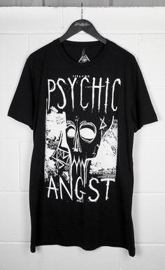 Psychic Angst Long T-Shirt #disturbiaclothing disturbia metal silver alien goth occult grunge alternative punk