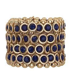 Natasha Accessories Enamel Stone Stretch Bracelet $38
