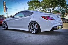 2013 Hyundai Genesis Coupe Rspec One front with and with lowered with Coilovers 2013 Hyundai Genesis, Hyundai Genesis Coupe, Genesis Creation, R Vinyl, Infiniti G37, Luxury Life, Dream Cars, Automobile, Car Stuff