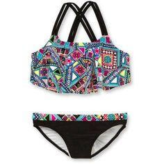 OP Girls' Bikini Patchwk Gypsy, Size: 6/6X, Black