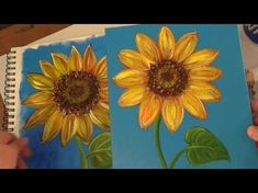 Sunflower Painting Tutorial, Free Easy Acrylic Painting Lesson for Beginners, How to Paint Flowers