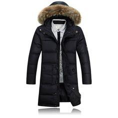 Invierno Hombre de negocios hasta la rodilla caliente con capucha de Down de gran tamaño del foso largo abrigo