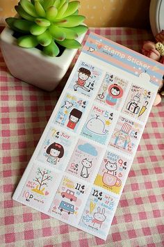 hand drawing cartoon stamp sticker my pets kids baby cats rabbit cute image kawaii postage stamp label deco birthday card seal