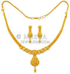 Gold Necklace Earring Set - - Yellow Gold Necklace and Earrings set is handcrafted with fancy machine machine cuts. Bridal Jewelry, Gold Jewelry, Jewelery, Simple Necklace, Gold Necklace, Diamond Necklaces, Victoria, Gold Set, Gold Fashion