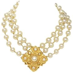 Preowned Chanel Vintage 1986 Three Strand Pearl Choker With Gold &... ($1,200) ❤ liked on Polyvore featuring women's fashion, jewelry, necklaces, accessories, pearl, multiple, gold pearl pendant, charm pendant, white pearl choker necklace and choker necklace