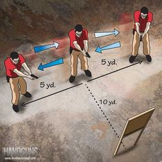 The Mad Half Minute drill will teach shooters to plant their feet, assume a proper shooting position and control the trigger to hit a target after moving. Shooting Targets, Shooting Sports, Shooting Guns, Shooting Range, Shooting Practice, Archery Targets, Tactical Training, Target Practice, Special Forces