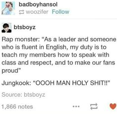 Lol RapMonster (leader) & Jungkook (maknae) XD At least he tries tho lol cx