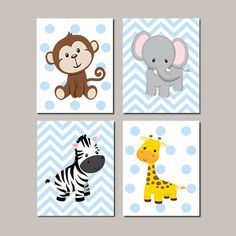 JUNGLE Nursery Wall Art ELEPHANT Giraffe Zebra Monkey Set of 4
