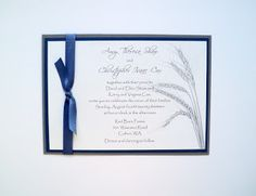 Wheat Blue and Silver Wedding Invitations DIY by Paper Pals