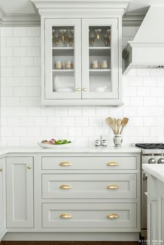 Heidi Pirron Gray Kitchen Brass hardware white brick pattern tile