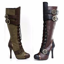 "Ellie Shoes 4"" Knee High Steampunk Boot With Laces Steampunk Goth Punk Victorian"