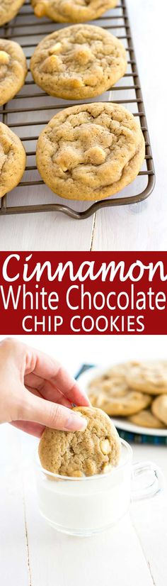 Soft and chewy cinnamon chocolate chip cookies with white chocolate. Try them with dark chocolate too! | #shop #cookies #christmascookies #recipe
