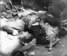 Polish civilians murdered by Waffen-SS troops (SS-Sturmbrigade Dirlewanger) in Warsaw Uprising, August 1944.