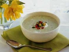 Cucumber and avocado soup with tomato and basil