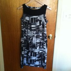 I have a HUGE dress selection❤️💚💜❤️💚💜❤️💚💜❤️ Black and white dress euc. Classy sophisticated professional wear to work abstract color block AB Studio Dresses