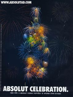 ABSOLUT CELEBRATION. vodka poster art fireworks
