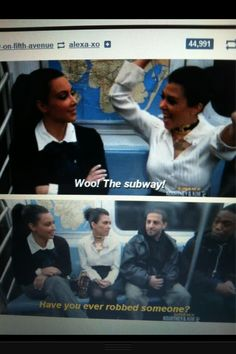 haha  the only people to be happy to be on the subway.. I love Kim and Kourtney