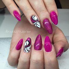 Bright Nail Designs, Gel Nail Designs, Cute Nails, Pretty Nails, Hair And Nails, My Nails, Ballerina Nails Shape, American Nails, Bling Nails