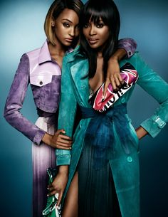 ☆ Jourdan Dunn & Naomi Campbell | Photography by Mario Testino | For Burberry Campaign | Spring 2015 ☆ #Jourdan_Dunn #Naomi_Campbell #Mario_Testino #Burberry #2015