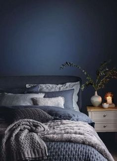 Cozy Bedroom Decor Idea Trends To be Warm This Winter for 2020 home design, home decorations, cozy warm home decor ideas, cozy bedroom ideas for teen, bedroom ideas trends for boho bedroom design Home Decor Bedroom, Blue Bedroom Walls, Cozy Bedroom, Master Bedrooms Decor, Yellow Bedroom, Bedroom Color Schemes, Blue Bedroom Decor, Room Ideas Bedroom, Grey Bedroom Colors