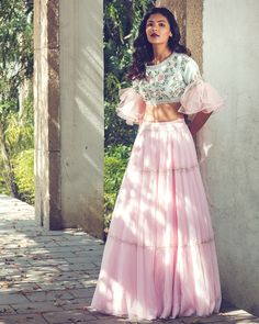 Bollywood Style Pink Colour Orgenza Lehenga by on Etsy Indian Gowns Dresses, Indian Fashion Dresses, Dress Indian Style, Indian Designer Outfits, Designer Dresses, Indian Designers, Designer Blouses For Lehenga, Indian Outfits Modern, Designer Sarees