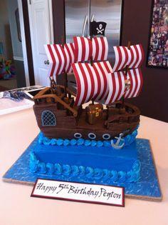 pirate ship pirate ship Pirate Ship 457 Source by karaburdick Pirate Birthday Cake, Cupcake Birthday Cake, Cupcake Cakes, 3rd Birthday, Cupcakes, Pirate Ship Cakes, Pirate Boat Cake, Ocean Cakes, Novelty Cakes