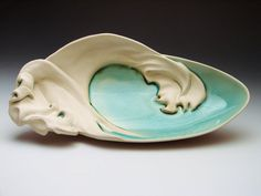 Wave Platter Handmade Pottery by cephalopodink