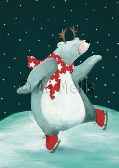 Nieuwjaarsbrief An Melis Christmas Scenes, Christmas Books, Kids Christmas, Christmas Crafts, Illustration Inspiration, Illustration Noel, Illustrations, Winter Painting, Painting For Kids