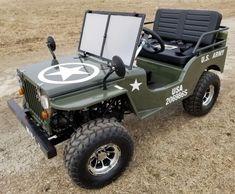 Gas Golf Cart jeep Mini Truck Elite Edition - Lifted With Custom Rims And Fender Flares, Black Gas Golf Carts, Golf Carts For Sale, Custom Golf Carts, Custom Trucks, Mini Jeep, Mini Bike, Mini Trucks, Lifted Trucks, Rc Trucks