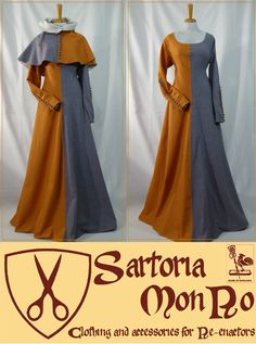 Medieval two-tone gown and capelet Renaissance Costume, Medieval Costume, Historical Costume, Historical Clothing, Larp, Dress Patterns, Apron Patterns, Viking Clothing, Medieval Gown