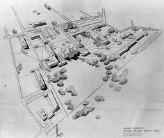The Antioch College Master plan by Saarinen & Swanson. Birch Hall, the only building completed under the plan, is #12 at right.