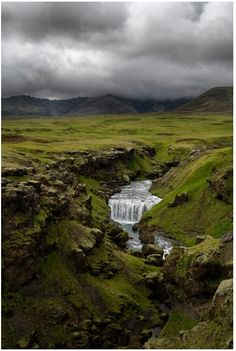 Skogafoss, Iceland. Travel and stay there for more than an hour.