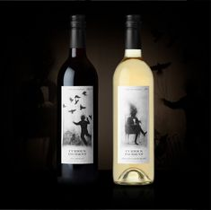 Perspective Branding designed Curious Incident Wine. The dark glass bottle has a white label with a drawing of black and white illustrations of crows tied to a person as if being controlled. There is a cage on the bottom with a crow just at the edge of the open door.  The second wine is cream coloured glass bottle, with similar features on the label but with a black and white drawing of a figure sitting on a chair in a tux.