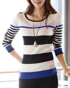 Casual Scoop Neck Long Sleeve Striped Color Block Sweater For WomenSweatshirts & Hoodies | RoseGal.com